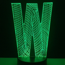 Novelty Luminaria 3D Alphabet Letter <strong>W</strong> Visual Lamp 7 Color Dimming Gradient RGB LED Night Light Desk Table Bedside Decor Gifts