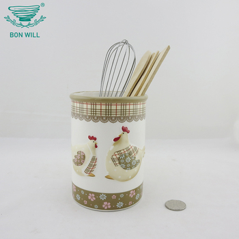 New design embossed decal home used kitchen ceramic cooking utensil holder