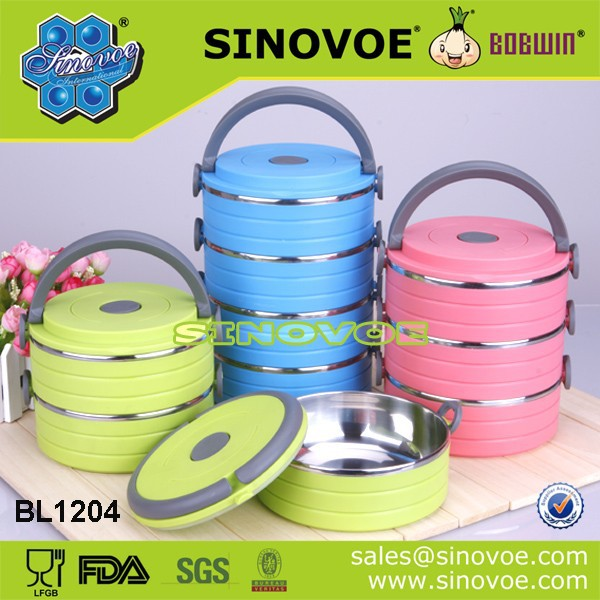 Sinovoe korea BPA FREE 3 Tiers Promotion diffrent colors lunch box