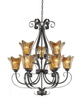 New 9 light Oil Rubbed Bronze chandelier with amber hand made glass ST-CH060-9