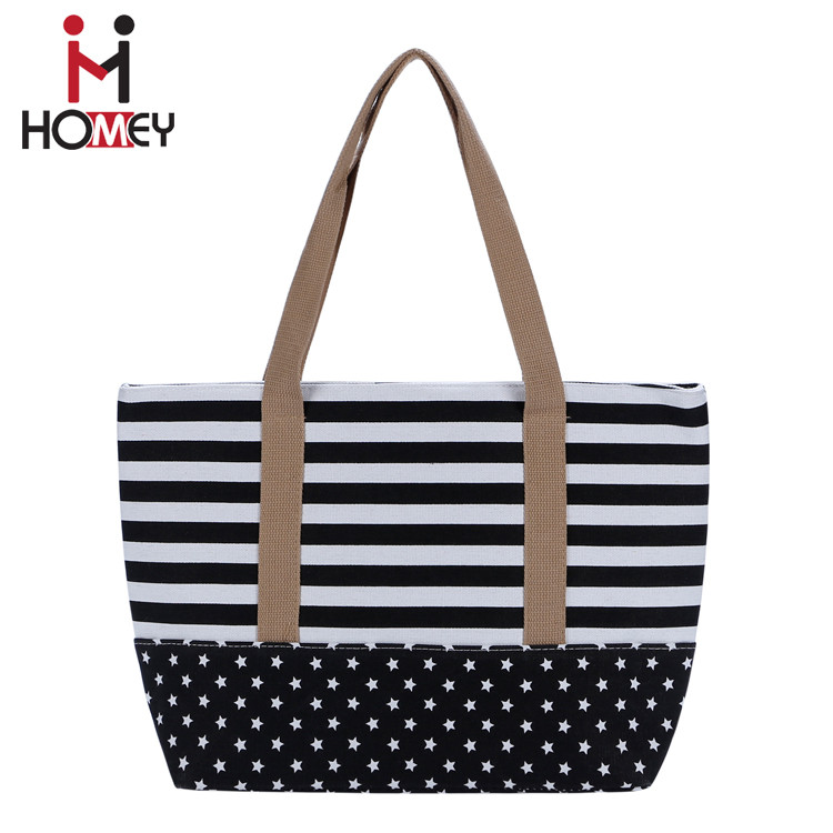 Multifunction Fashion women printed stripe fabric beach canvas bags ladies tote bag