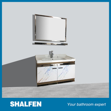 Simple white bathroom furniture stainless steel cabinet large space
