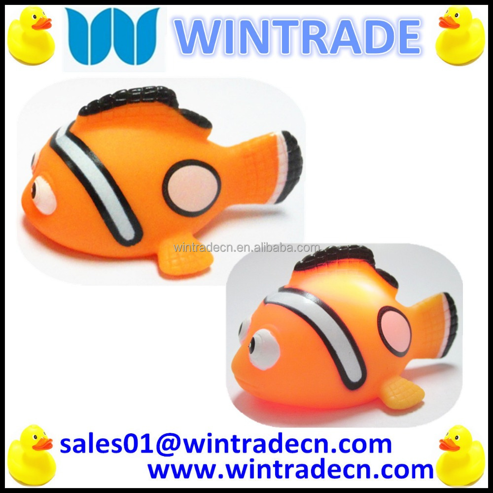 LED vinyl toy bath animals flashing clown fish