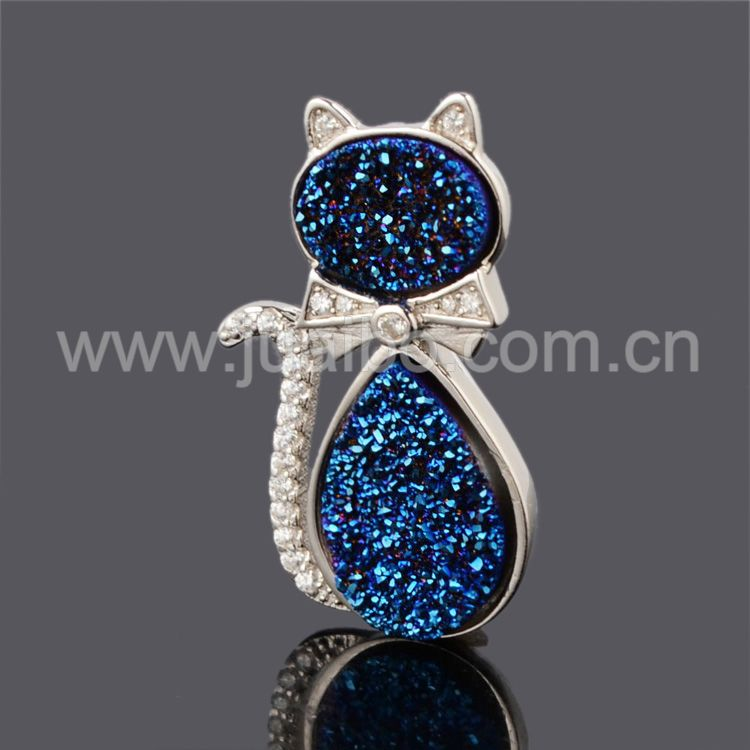 2015 new fashion jewelry agate druzy bezel animal cat pendant 925 sterling silver jewelry wholesale