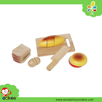 Wholesale Cutting Food Wooden Kitchen Play Set Bread Toy for Kids