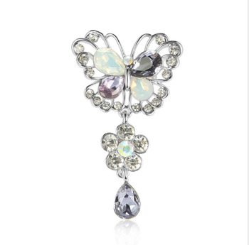 XSX02 chinese supplier austrian crystal butterfly flower dangle brooch pin jewelry