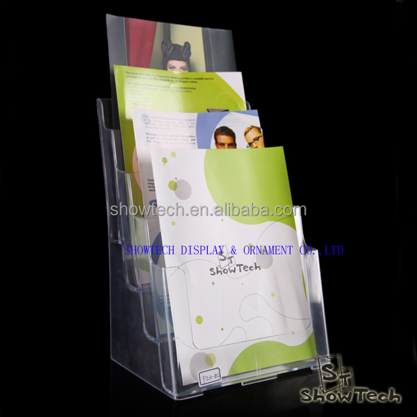 Transparent plastic advertising A4 paper display stand for 4 layers ST-BHA4-1T