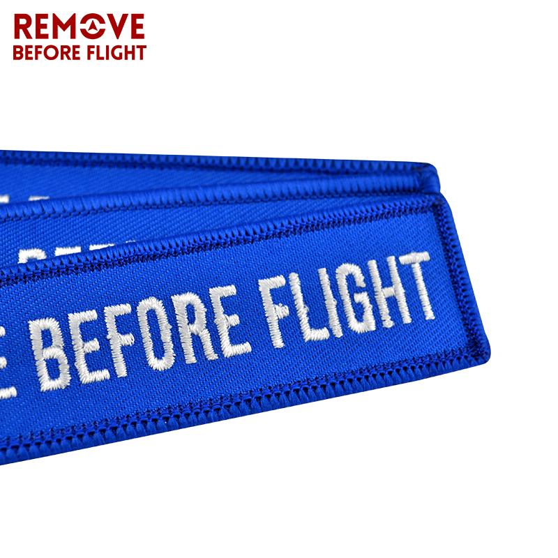 remove before flight embroidered keychain