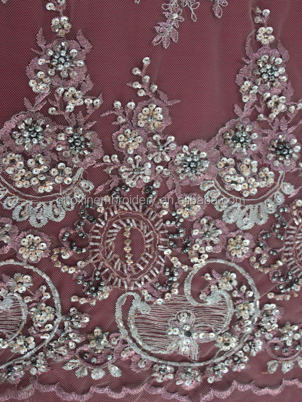 China handmade beaded bridal embroidery lace fabric in 2015