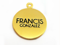 Gold metal tags for jewerly, custom small logo pendant