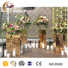 Golden Stainless Steel Europe Style House Wedding Decoration Pillars Flower Stand