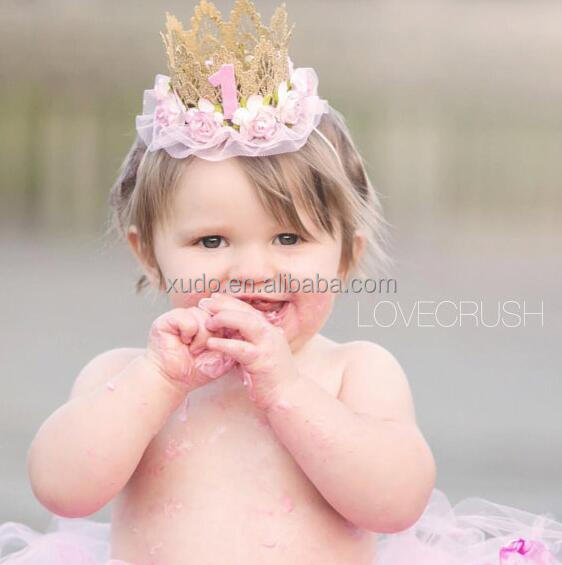 free shipping kids cute lace Crown headband for payty/show