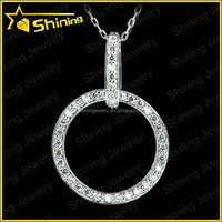 simple everyday cubic zirconia gemstone inlay round circle silver pendant necklace