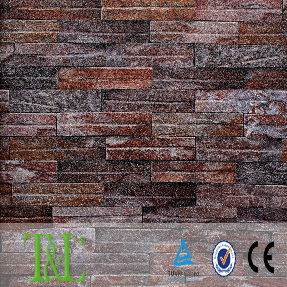 Heavy embossed 3D wallpaper with stone tile for home decoration