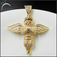 hip hop high quality brass men's cz angel pendant