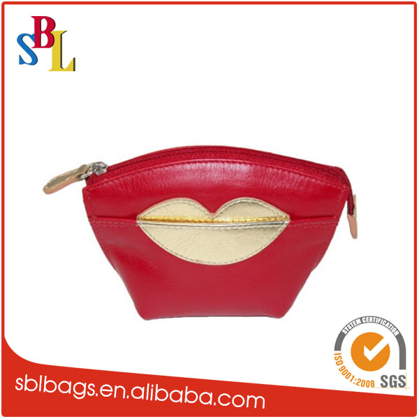 Fashion Design Womens Leather Hot Lips Coin Purse with Key Ring