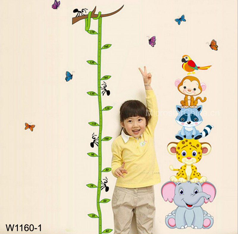 Vines, cute animals Kids height measuring Wall Stickers Boy Girl Growth Chart