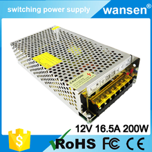 S-200W CE Certificate SMPS wide input 220v 100v transformer output 200w 12v 16.7a switching power supply