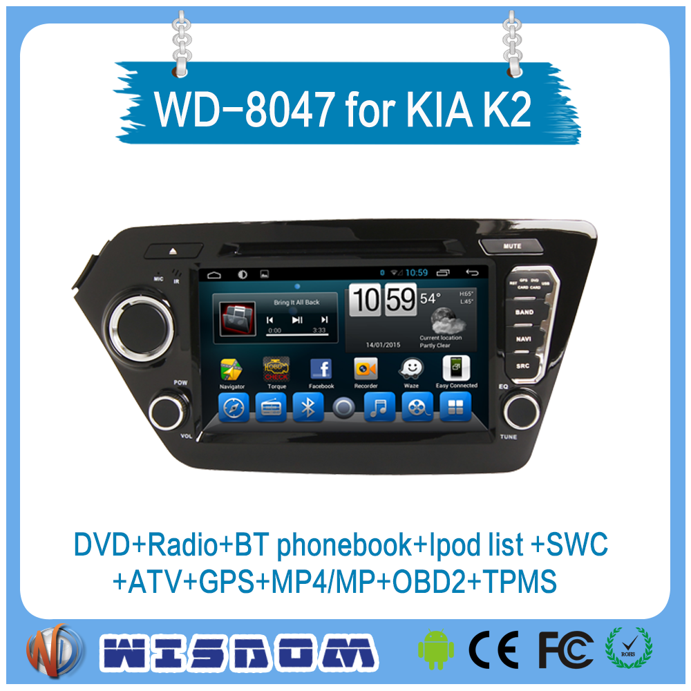 Newest model car video system for Kia K2/Rio gps navigation multimedia player mp3 mp4 touch screen support ipod list atv wifi