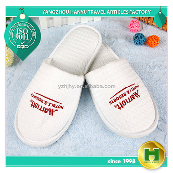 Walf Checks Hotel Slippers / Gorgeous Waffle Pattern EVA Guest Slippers / Custom Embroidered Grid Cloth Terry Spa Slippers