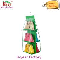 Hanging Purse Organizer, Breathable Nonwoven Handbag Organizer, 6 Easy Access Clear Vinyl Pockets