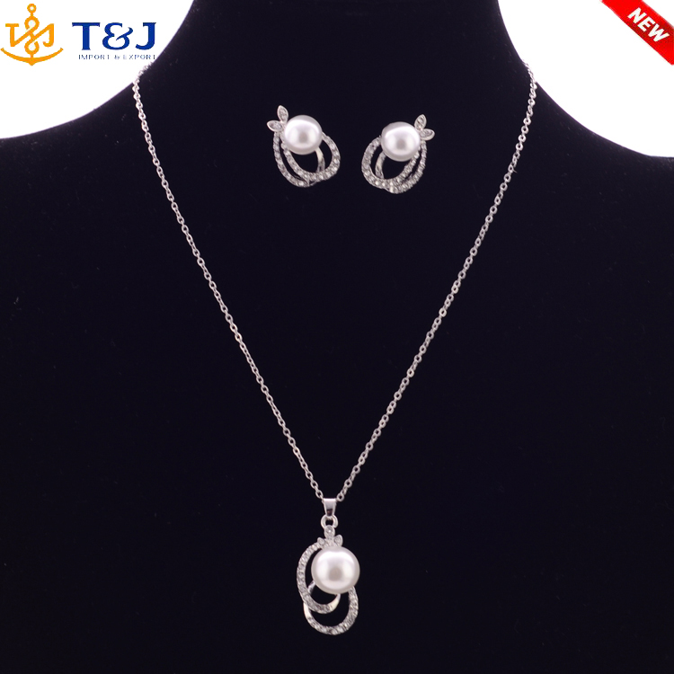 2016 Vogue Design Wedding Jewelry Sets For Women Gold Plated Cute Crystal Pearl Earring&Necklace Sets