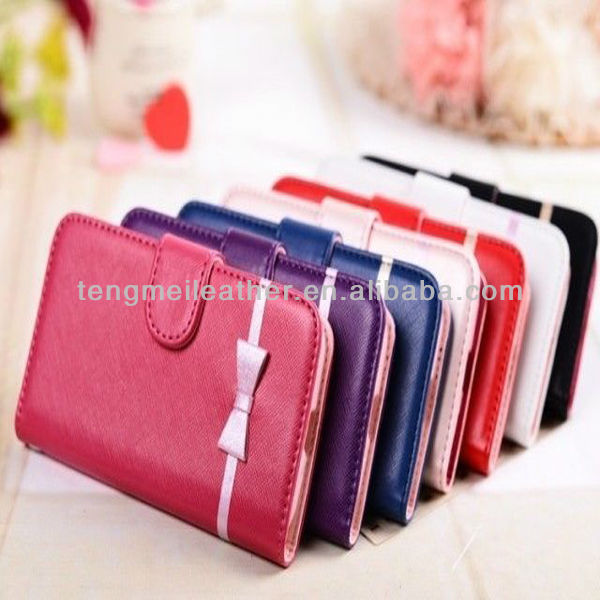 Cute Bow Bowknot Case For Samsung Galaxy S4 Mini, Leather Wallet Credit Card Holder Flip Case Cover For Samsung Galaxy S4 Mini