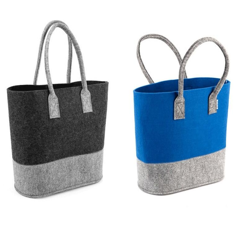 Fasional contrast color recycling Reusable Hand Felt Tote Bag to promotion