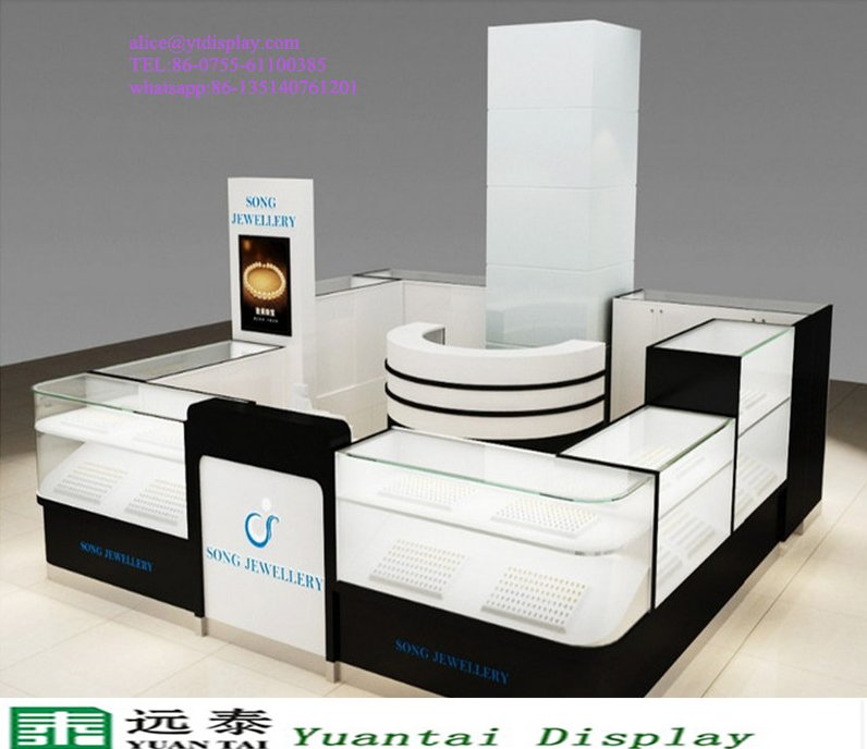 bespoke retail store shop counter design /led glass jewelry display cabinet/mall jewelry kiosk