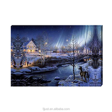 home decor wall hanging led village scenery oil painting on canvas