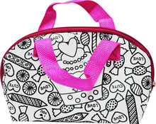 DIY painting your own satin handbag for kids with color markers