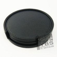 Set of 6 Black PU Leather Coasters Cup Glass Table Mat Pad with Coaster Holder