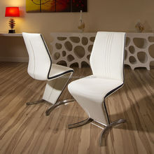 Modern <strong>Furniture</strong> Z Shape White Faux Leather dining Chair
