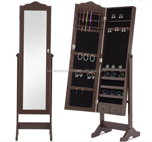 Home Floor Standing Rotating Mirror with Jewellery Cabinet Wooden Furniture Organizer