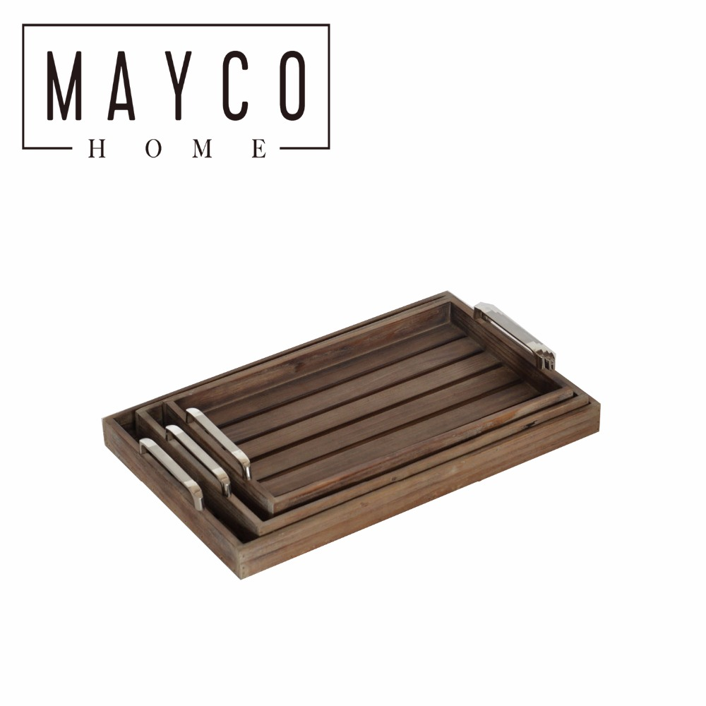 Mayco Vintage Brown Wood Finish Rectangular Nesting Breakfast Serving Trays with Metal Handles