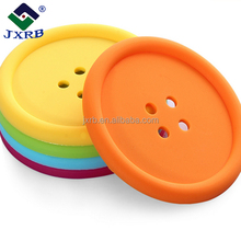 Economic and efficient cute round buttons silicone coaster/cup mat made in China