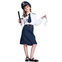 Girls children kids Police Uniform Cosplay Costume Halloween Career Costume