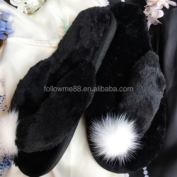 latest design flush fur slide slippers pvc outsole rabbit fur slippers cheap women injection shoes colorful shoes for women S5b