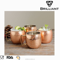 Brilliant BW1005 AsiaCraft Pure Copper Hammered Moscow Mule Mug for chilled drinl