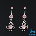 14g stainless steel rose jeweled zircon dangling belly ring navel piercings