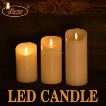 promotional led candle/colorful led candles with 3D swing flame/