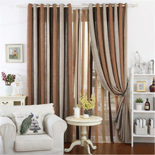 New Arabic style fold stripe designs Linen curtain with Factory sipplier