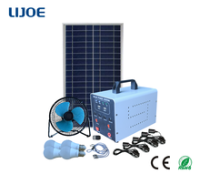 Portable solar power station 25W kit with bulbs and fan for camping mountain areas lacking of electricity