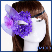 2016 cheap costume jewellery half face purple lace funny masquerade eye mask