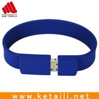 Custom cheap silicone soft rubber usb bracelet with USB flash drives and oem logo accepted