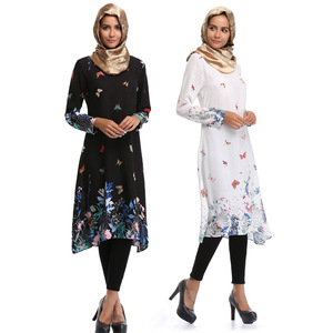 2018 Spring new design dubai women kimono abaya print flowers islamic dress