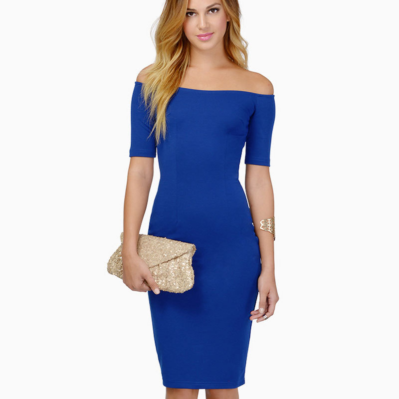 41d869a6e3e Buy Slash Neck Off Shoulder Sexy Club Bodycon Dress Plain Black Blue Women  Dress Plus Size Slimming Pencil Work Dresses Vestidos DF in Cheap Price on  ...
