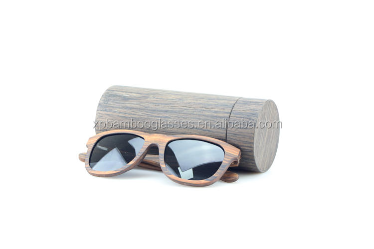 custom cylinder bamboo wood sun glasses case with free logo