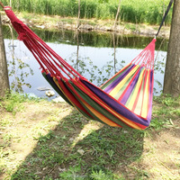 Hammock Portable Cotton Rope Outdoor Swing Fabric Camping Hanging Canvas Bed Hammock