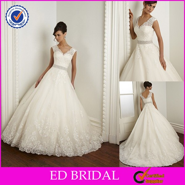 Latest A-line Crystal Belt Irish Lace Wedding Dresses For Mature Women